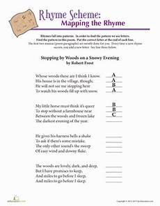 poetic devices worksheet grade 7 25432 robert rhyme scheme worksheet education