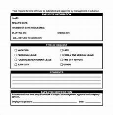 employee time off request form template sle time off request form 23 download free documents in pdf word