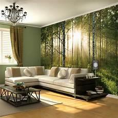Deko Wohnzimmer Wand - gr c bcne wand wald deko m bbel in beige kronleuchter zu