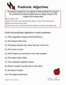predicate adjectives worksheet education com