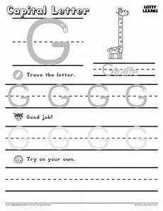 capital letter g tracing worksheets 24645 capital letter g lotty learns capital letters worksheet learning letters letter worksheets