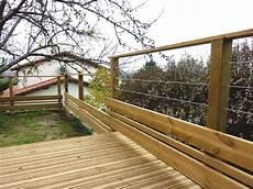 am 233 nagements bois garde corps en bois pin classe 4 et c 226 bles inox terrasse bois constans