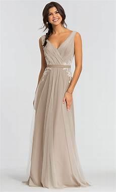 kleinfeld v neck long tulle bridesmaid dress
