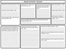 worksheets for ks3 18569 ks3 activate science metals and acids revision worksheet teaching resources