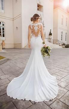 lace and chiffon beach wedding dress with illusion bodice