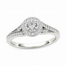 5 8 ct t w diamond frame vintage style engagement ring in 14k white gold engagement rings