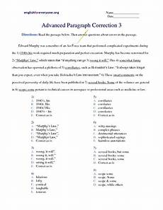 advanced paragraph correction 3 worksheet for 5th 7th grade lesson planet