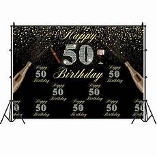 5x7ft Vinyl 50th Happy Birthday Black by 50th Birthday Black Photography Background Vinyl