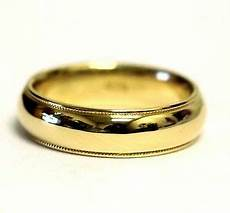 14k yellow gold mens gents milgrain wedding band ring 6mm comfort fit 8g vintage ebay