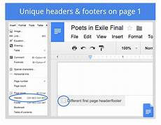 using different headers and footer in the same google