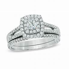 3 4 ct t w diamond double frame bridal in 14k white