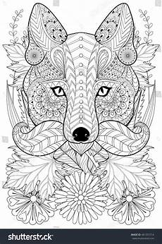 Malvorlagen Tiere A4 Zentangle Stylized Fox Moustache On Flowers Stock Vector