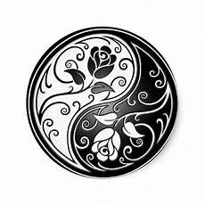 pink and black yin yang roses sticker by jeff bartels