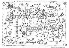happy holidays colouring page
