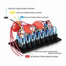 8 gang circuit breaker 12v 24v led rocker switch panel boat rv marine waterproof