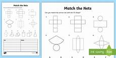 match the nets of 3d shapes worksheet maths resources