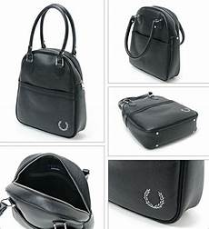 fred perry womens black bowling style shoulder bag