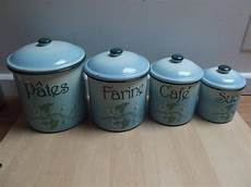 large kitchen canisters 4 large graduated enamel metal kitchen