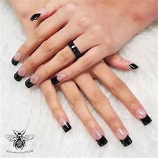 french manicure with black tips black acrylic nails
