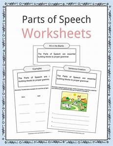 worksheets speech 19060 parts of speech worksheets exles definition for