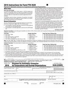 fillable online 2016 form 3539 payment for automatic extension for corporations and exempt