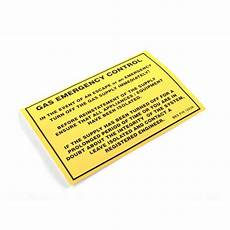 gas emergency control label 12238 safety warning labels bes co uk