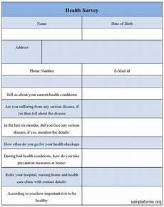 health survey form sle forms