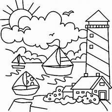 gratis malvorlagen orient leuchtturm mit segelschiffen ausmalbild malvorlage