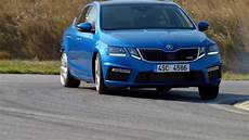 Skoda Octavia Rs In Blue Driving Demonstration