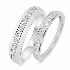 7 8 carat t w diamond his and hers wedding band 14k