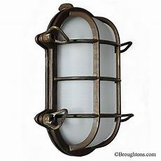 oval bulkhead flush outdoor wall light aged copper broughtons of leicester ltd