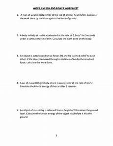 work energy and power worksheet with answer by kunletosin246 teaching resources