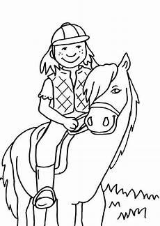 kostenlose malvorlage pferde kleine reiterin zum ausmalen
