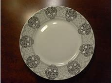 """222 FIFTH """"SKULL LACE"""" SET/4 ROUND LARGE 11"""" DINNER PLATES"""