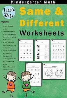 worksheets for preschool and kindergarten kindergarten math same and different worksheets by