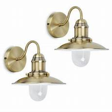pair of traditional antique brass fishermans indoor wall light ls lights new ebay