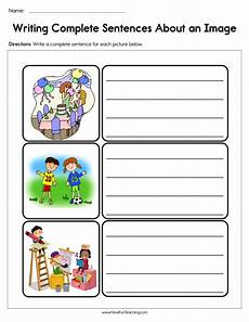 writing sentences from pictures worksheets 22214 writing complete sentences about an image worksheet teaching