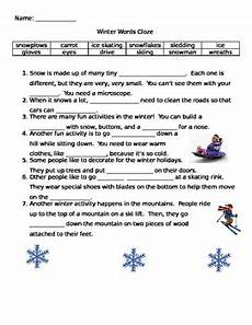 esl winter words cloze activity by the toucan tpt