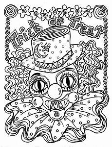 instant scary clown spooky coloring page
