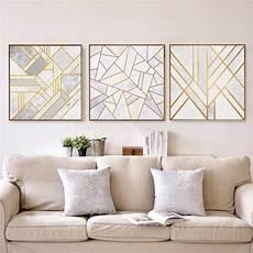 wandbilder wall abstract geometric canvas painting grey gold nordic
