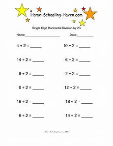 single digit horizontal division by 2s worksheet for 4th