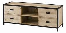 meuble bois massif brut meuble tv pin massif brut et m 233 tal 4 tiroirs 2 niches city