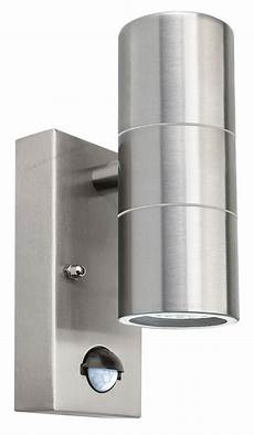 pir stainless steel up down outdoor wall light with movement sensor zlc0204 ip65 5055875557512