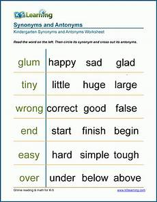 worksheet on synonyms and antonyms for grade 1