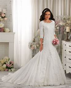 modest wedding gowns with 3 4 sleeves 2016 newly luxury white lace applique modest