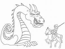 Malvorlage Ritterburg Mit Drachen Ausmalbild Ritter Und Drachen Riesiger Drache Und Ritter