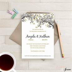 diy printable wedding invitation template black gold leaves