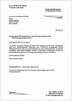 kündigung versicherung vorlage vorlage und muster k 252 ndigung kfz versicherung k 252 ndigen