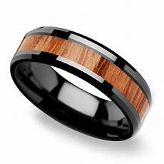 oak inlay men s beveled ring in black ceramic 6mm