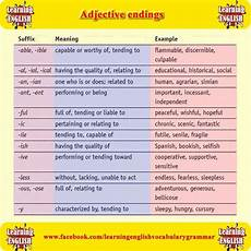 click on adjective suffixes
